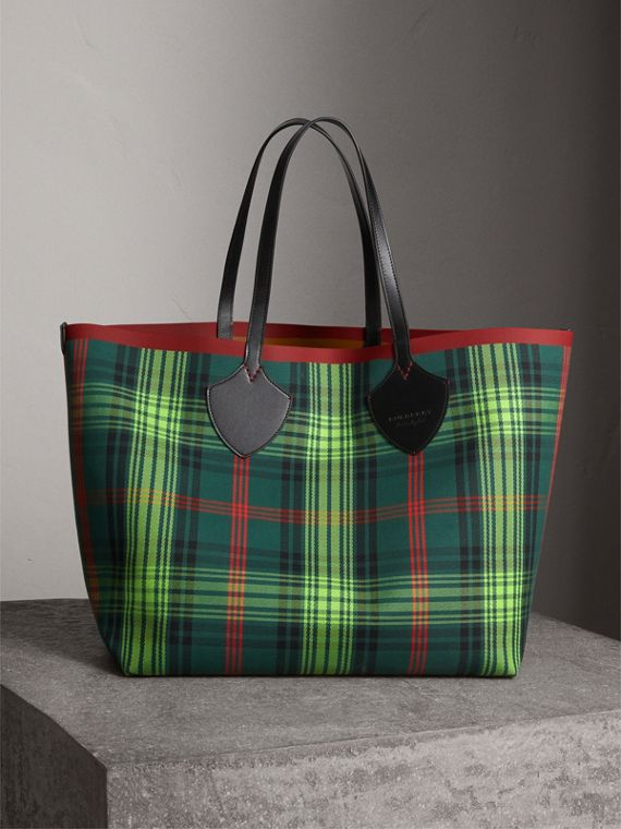 Borsa tote The Giant double face in cotone con motivo tartan e pelle (Marroncino/verde Pino)