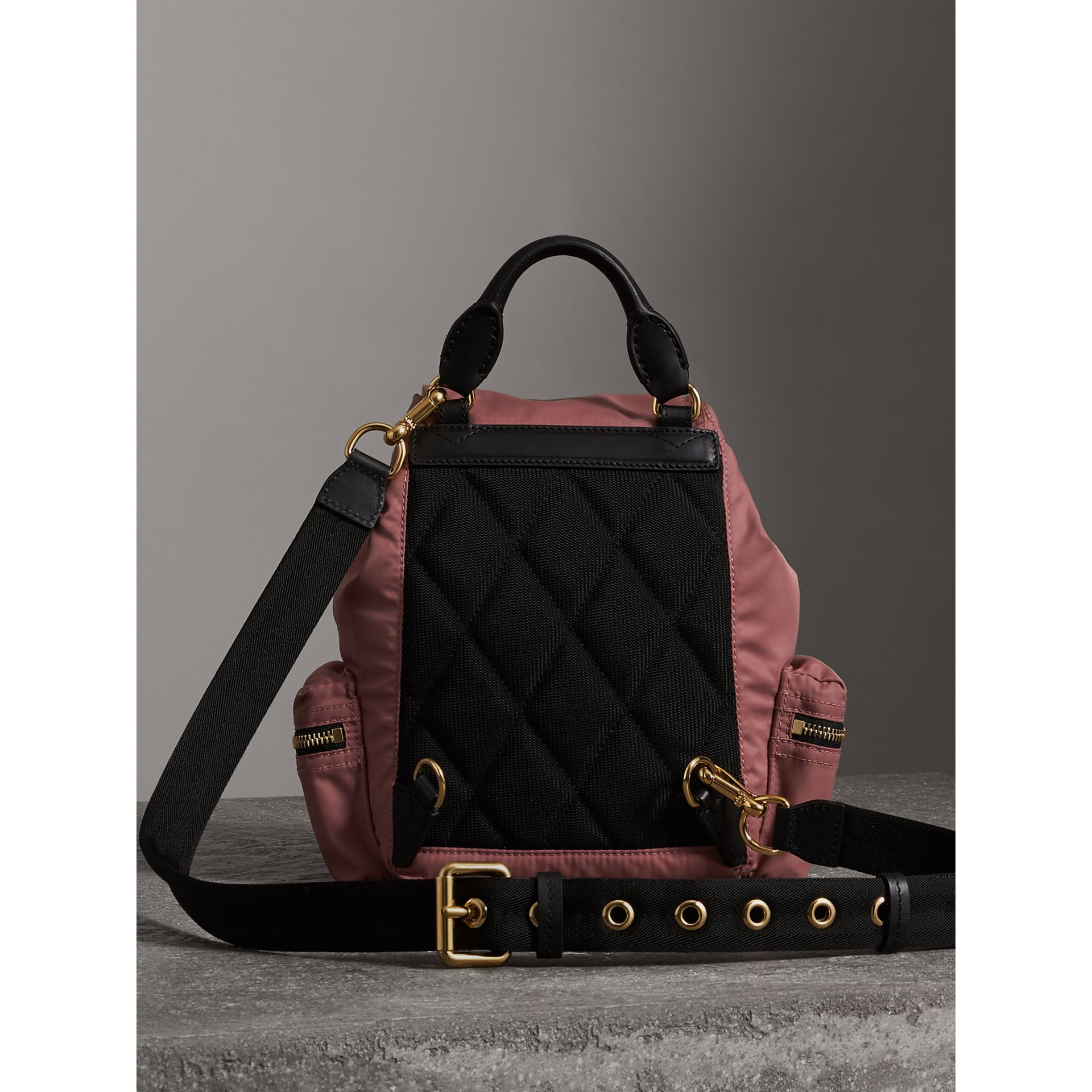 The Crossbody Rucksack in Nylon and Leather in Mauve Pink - Women | Burberry - gallery image 6