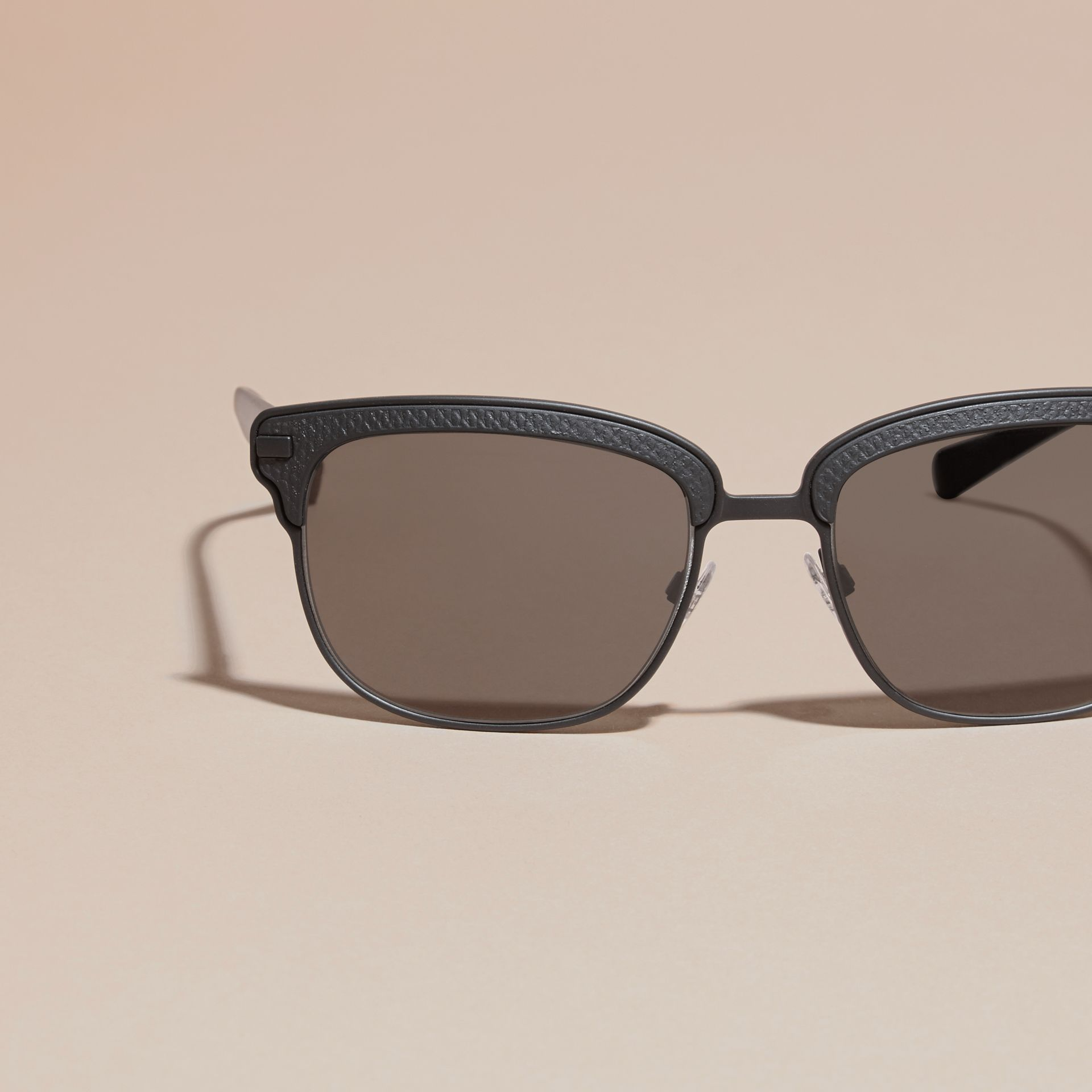 Textured Front Square Frame Sunglasses in Black - Men | Burberry Singapore - gallery image 2