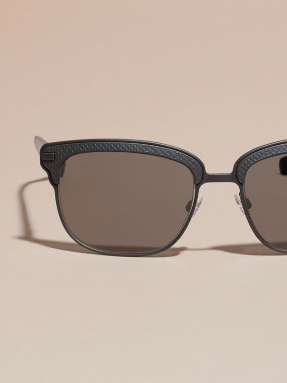 Textured Front Square Frame Sunglasses in Black - Men | Burberry Singapore - cell image 2