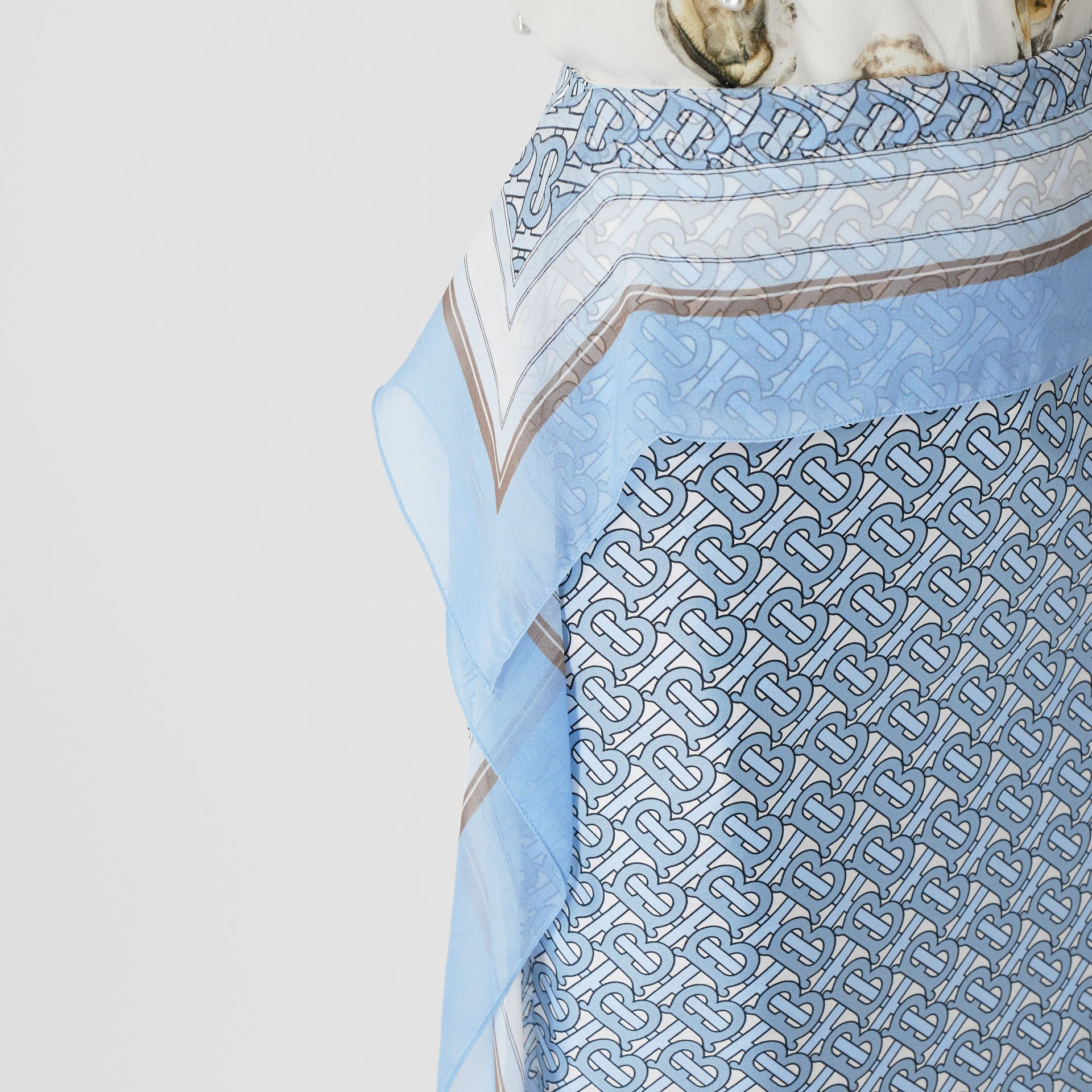 Scarf Detail Monogram Print Silk Pencil Skirt in Baby Blue - Women | Burberry - gallery image 6