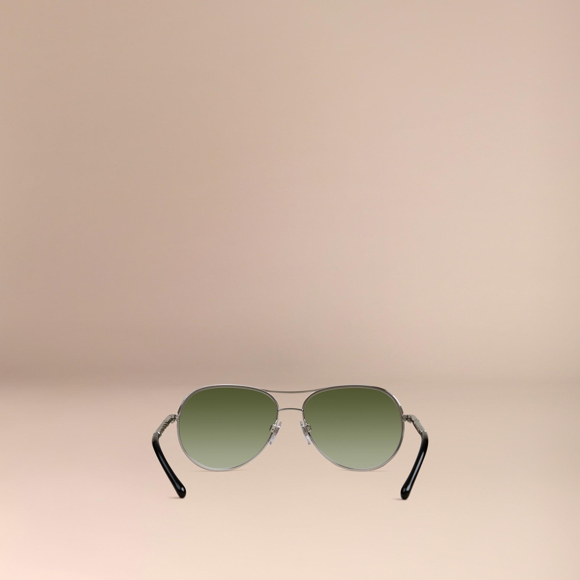 Silver Gabardine Collection Aviator Sunglasses Silver - gallery image 3
