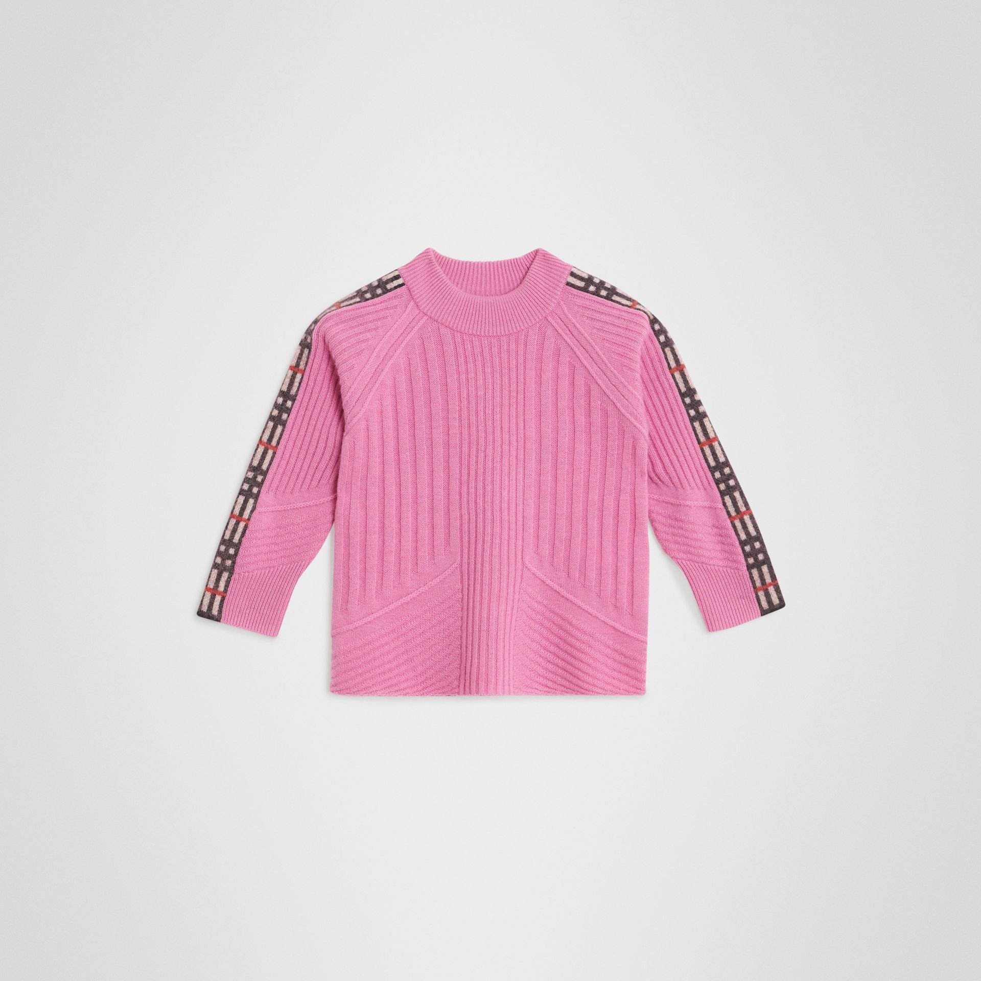Check Detail Wool Cashmere Sweater in Rose Pink | Burberry - gallery image 0