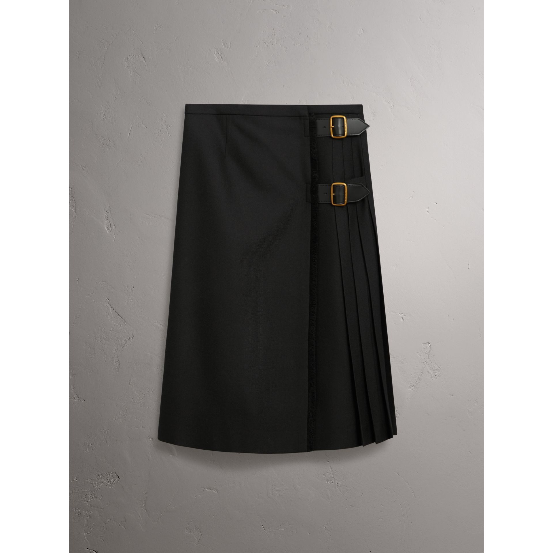 Wool Twill Kilt in Black - Women | Burberry - gallery image 3