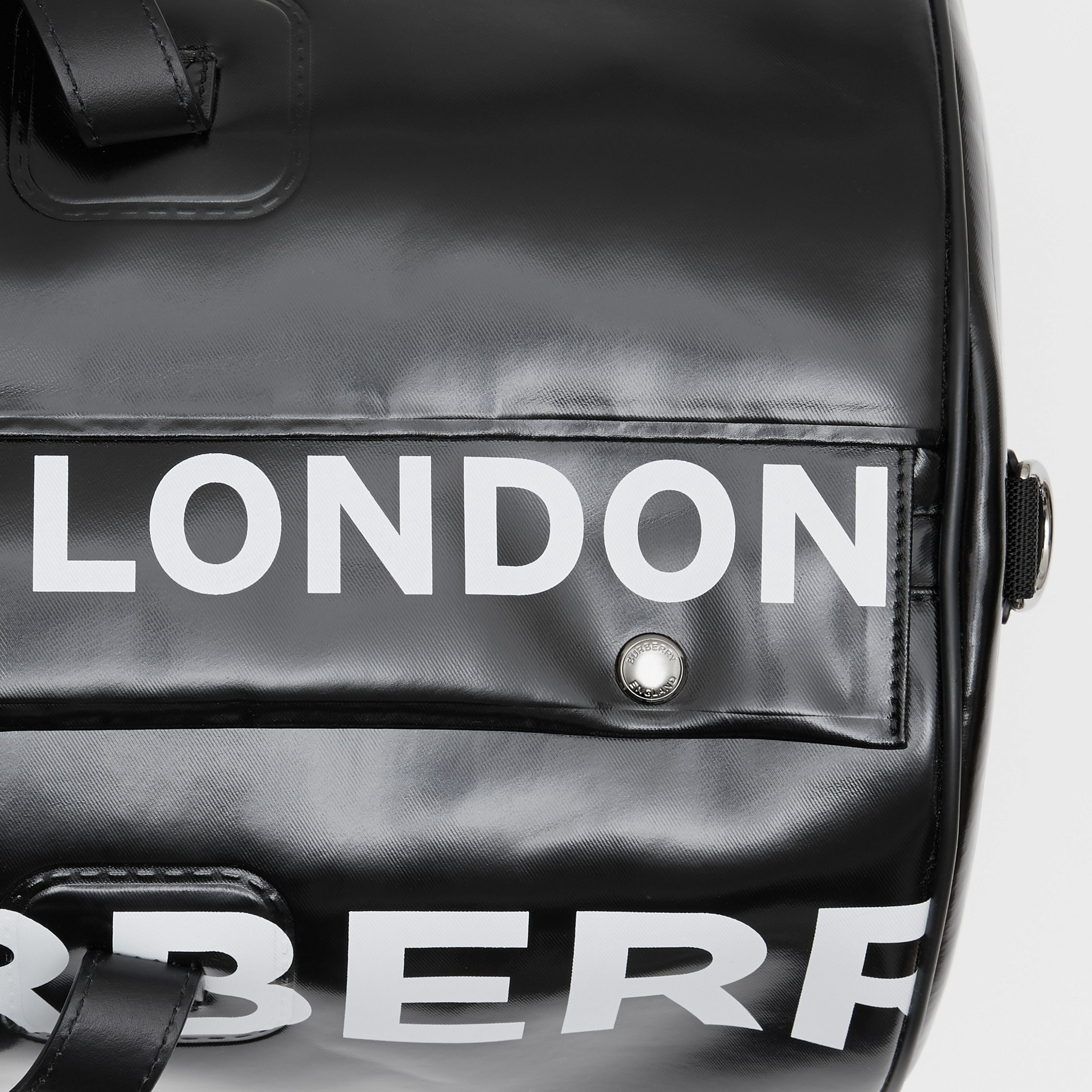 Large Horseferry Print Coated Canvas Barrel Bag in Black | Burberry - 2