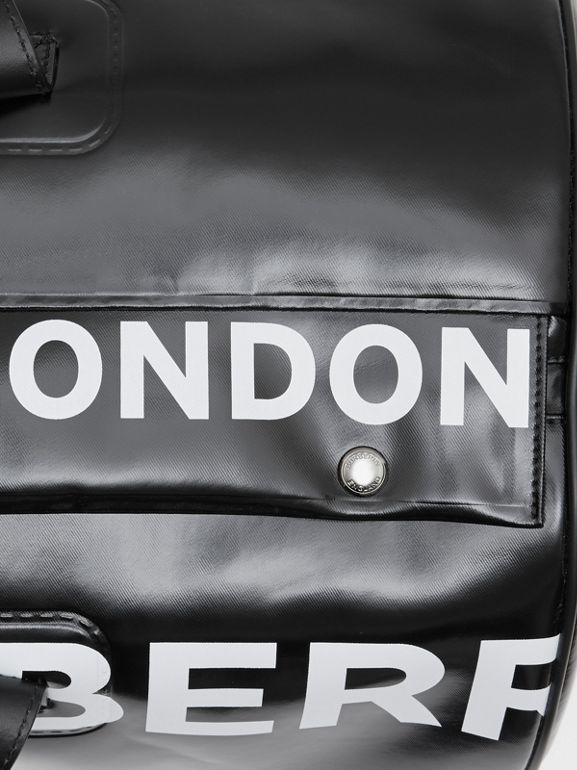 Large Horseferry Print Coated Canvas Barrel Bag in Black | Burberry United Kingdom - cell image 1