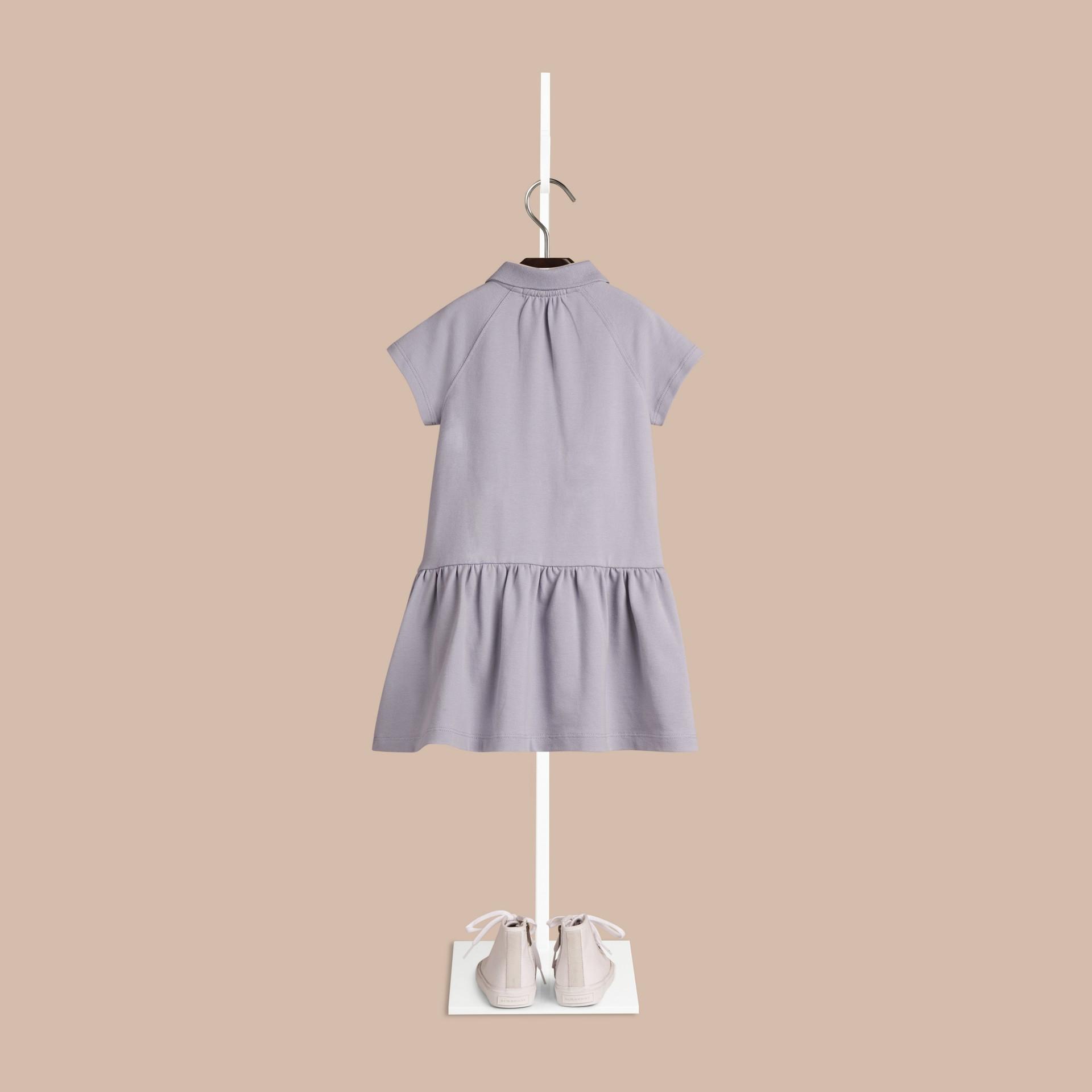 Blu lupino pallido Abito T-shirt in misto cotone con paramontura check Blu Lupino Pallido - immagine della galleria 2