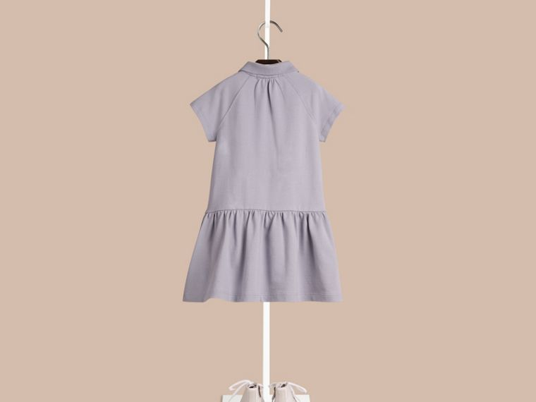 Pale lupin blue Check Placket Cotton Blend T-Shirt Dress Pale Lupin Blue - cell image 1