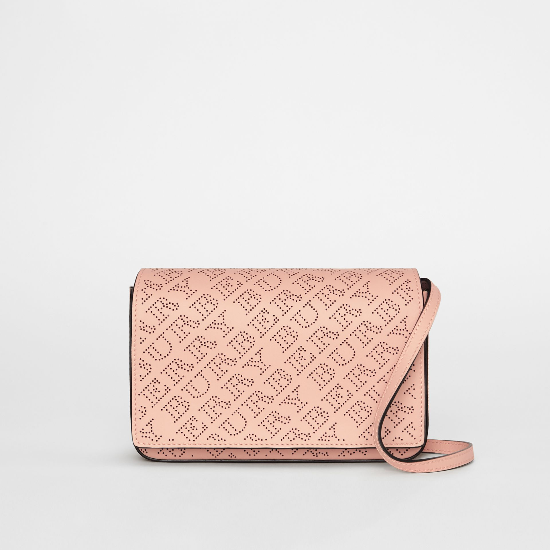 Perforated Logo Leather Wallet with Detachable Strap in Pale Fawn Pink - Women | Burberry - gallery image 0