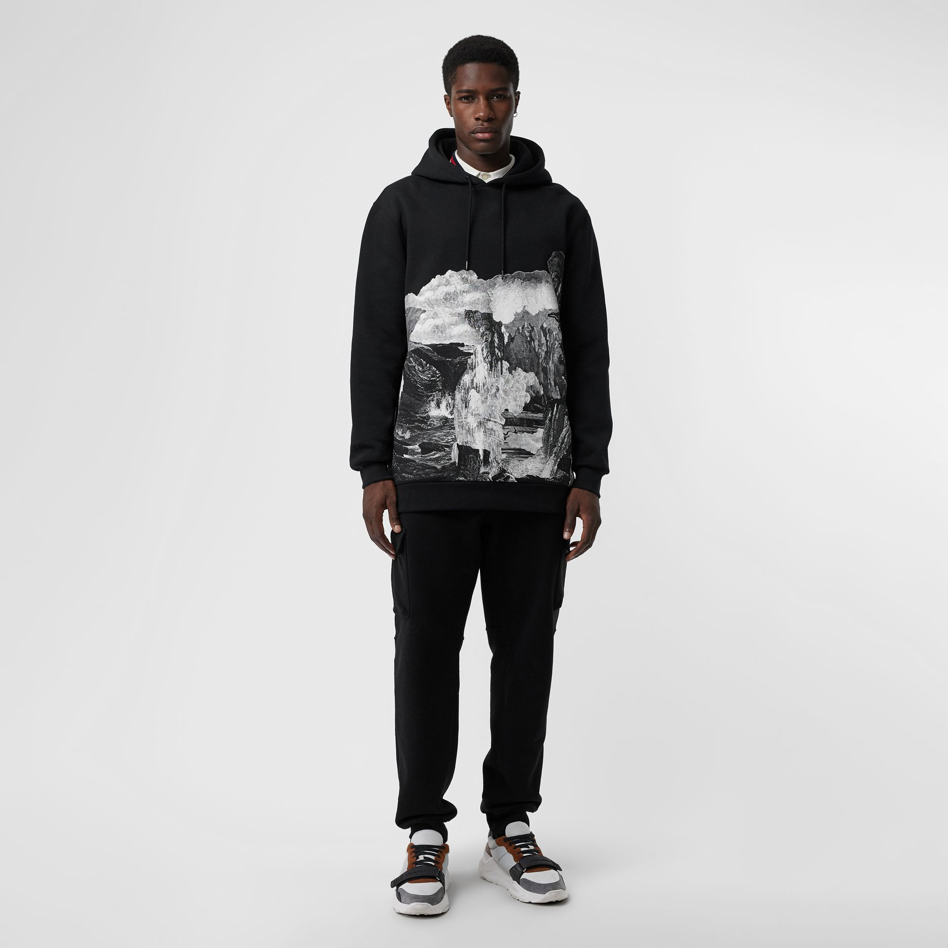 Dreamscape Print Cotton Blend Hoodie in Black - Men | Burberry United Kingdom - gallery image 0