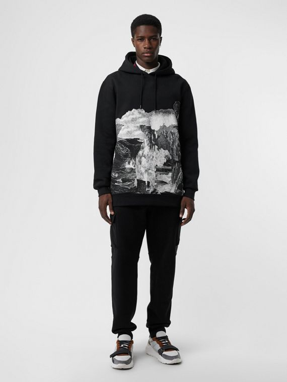 Dreamscape Print Cotton Blend Hoodie in Black