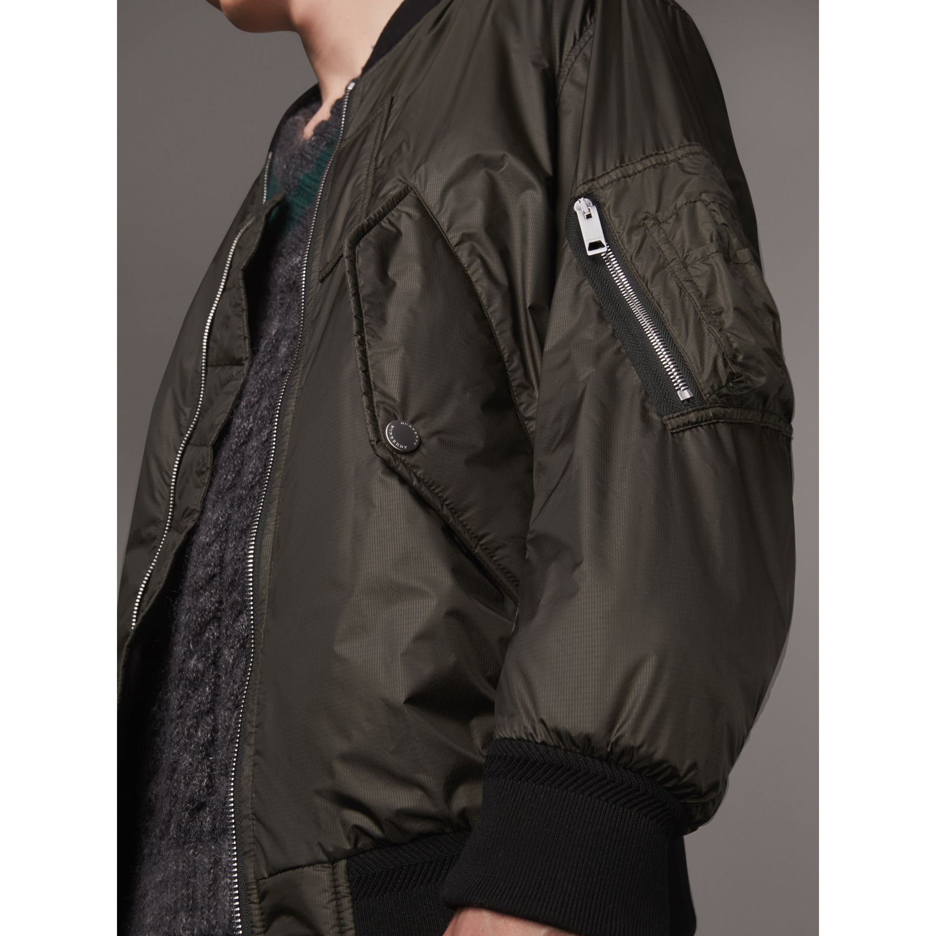 Lightweight Bomber Jacket in Dark Olive - Men | Burberry - gallery image 2