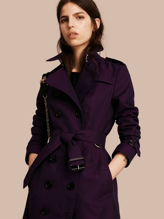 Trench coat in gabardine di cotone Viola Scuro