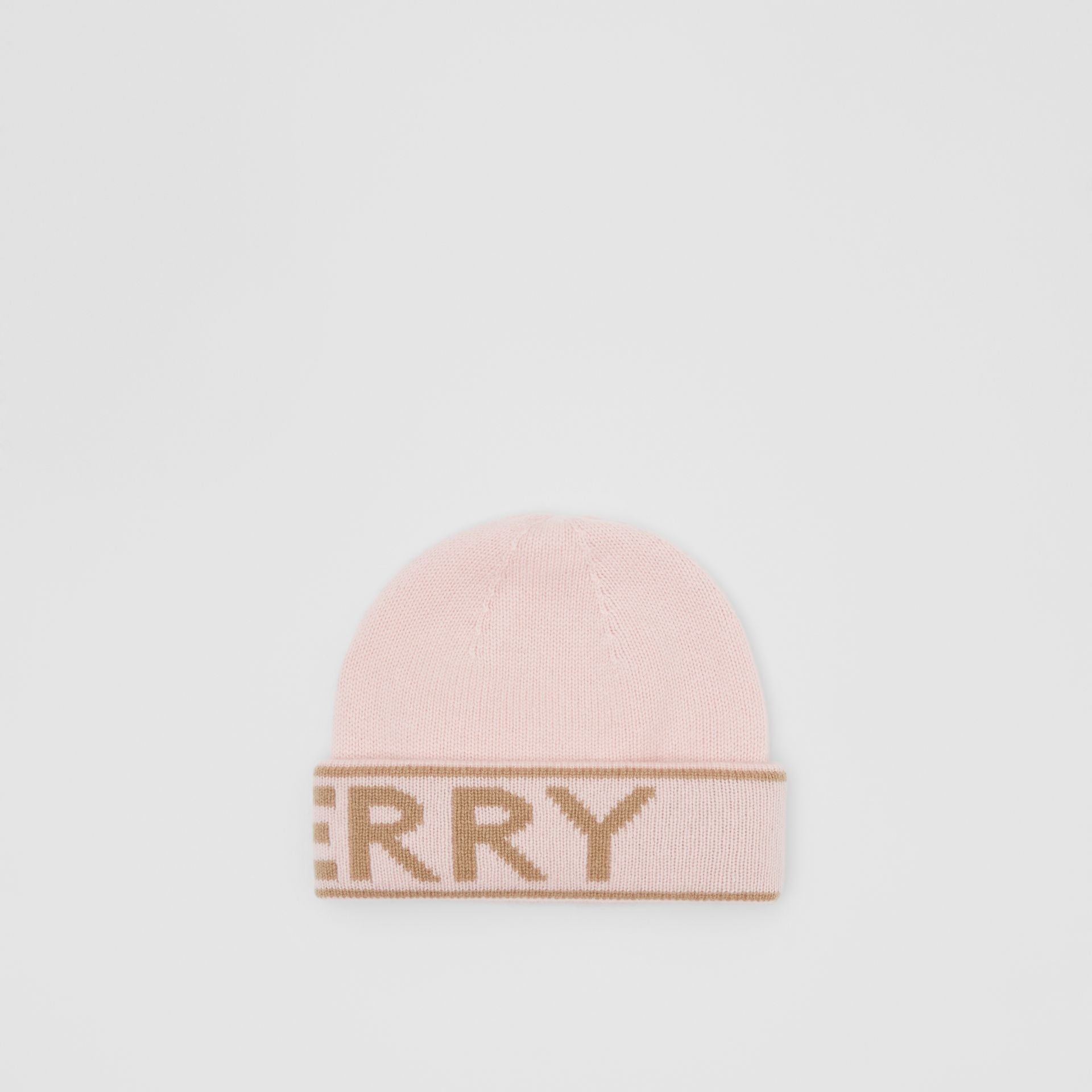 Logo Intarsia Cashmere Beanie in Candy Pink | Burberry - gallery image 4