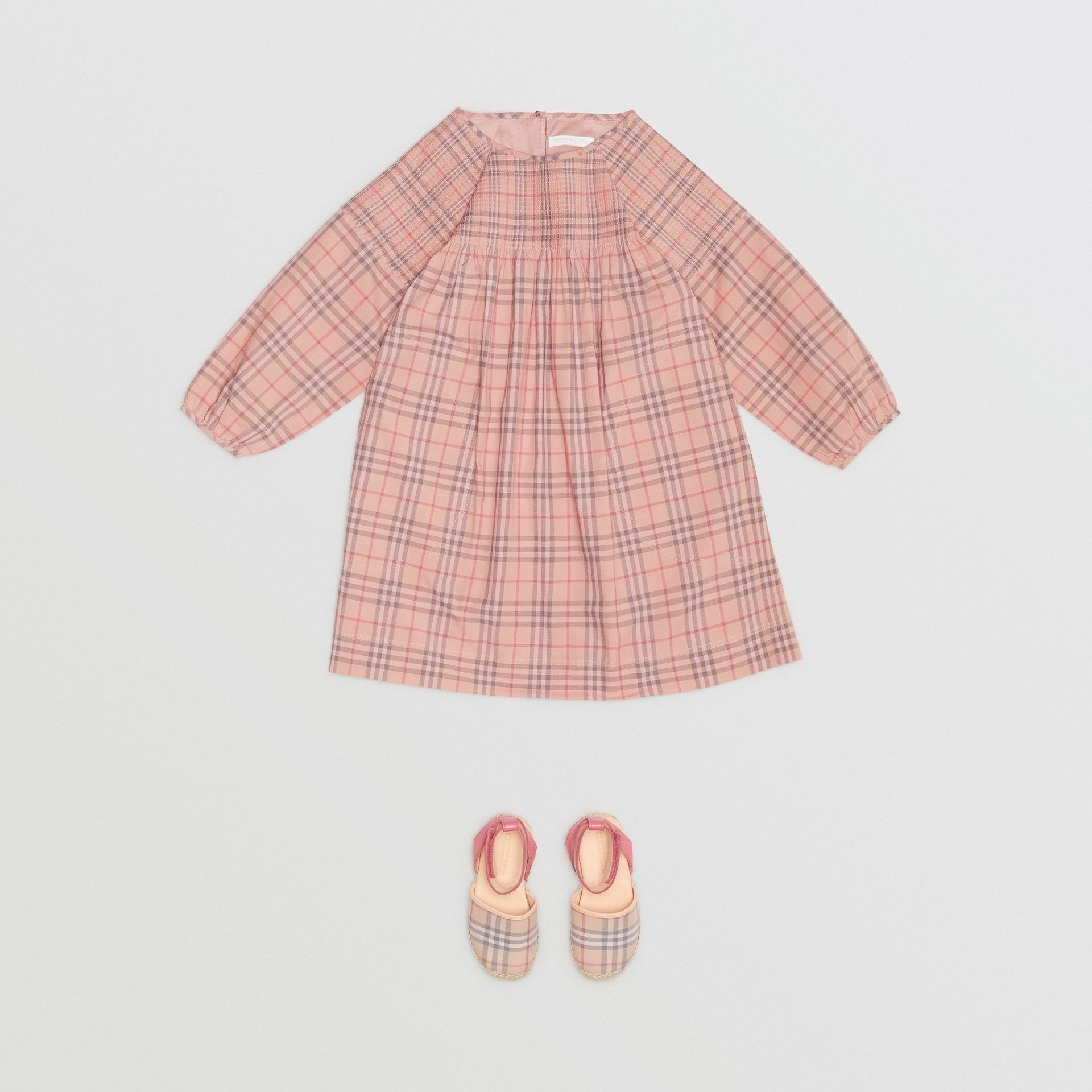 Check Cotton Poplin Dress in Pale Pink - Children | Burberry - gallery image 2