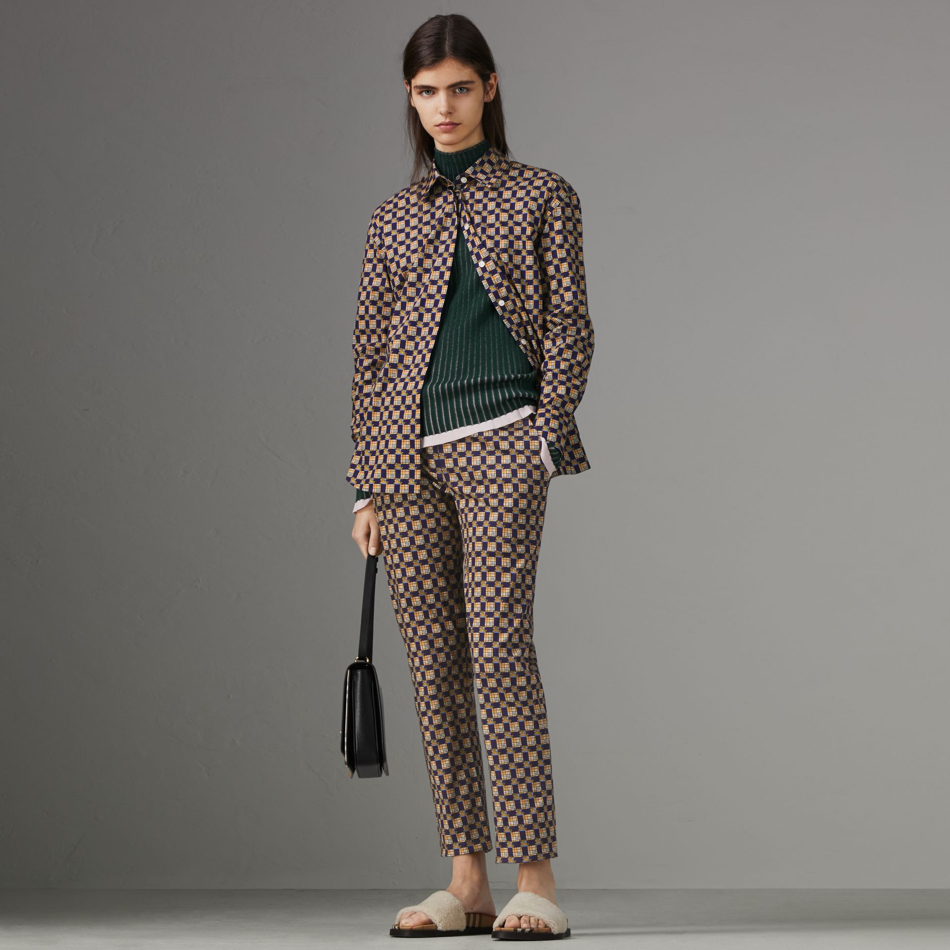 Tiled Archive Print Stretch Cotton Cigarette Trousers in Navy - Women | Burberry Australia - gallery image 0