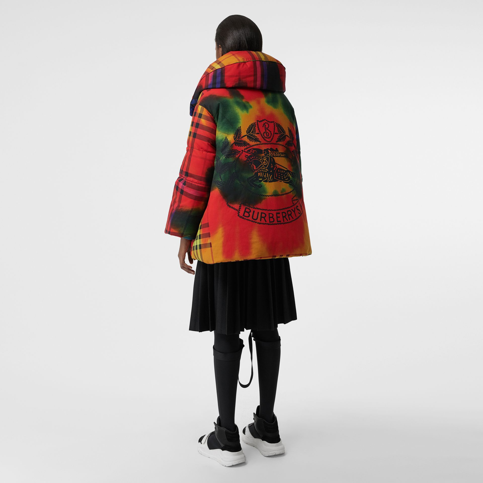 Tie-dye Vintage Check Down-filled Puffer Coat in Bright Red - Women | Burberry - gallery image 2