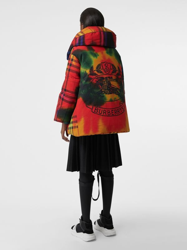 Tie-dye Vintage Check Down-filled Puffer Coat in Bright Red - Women | Burberry - cell image 2