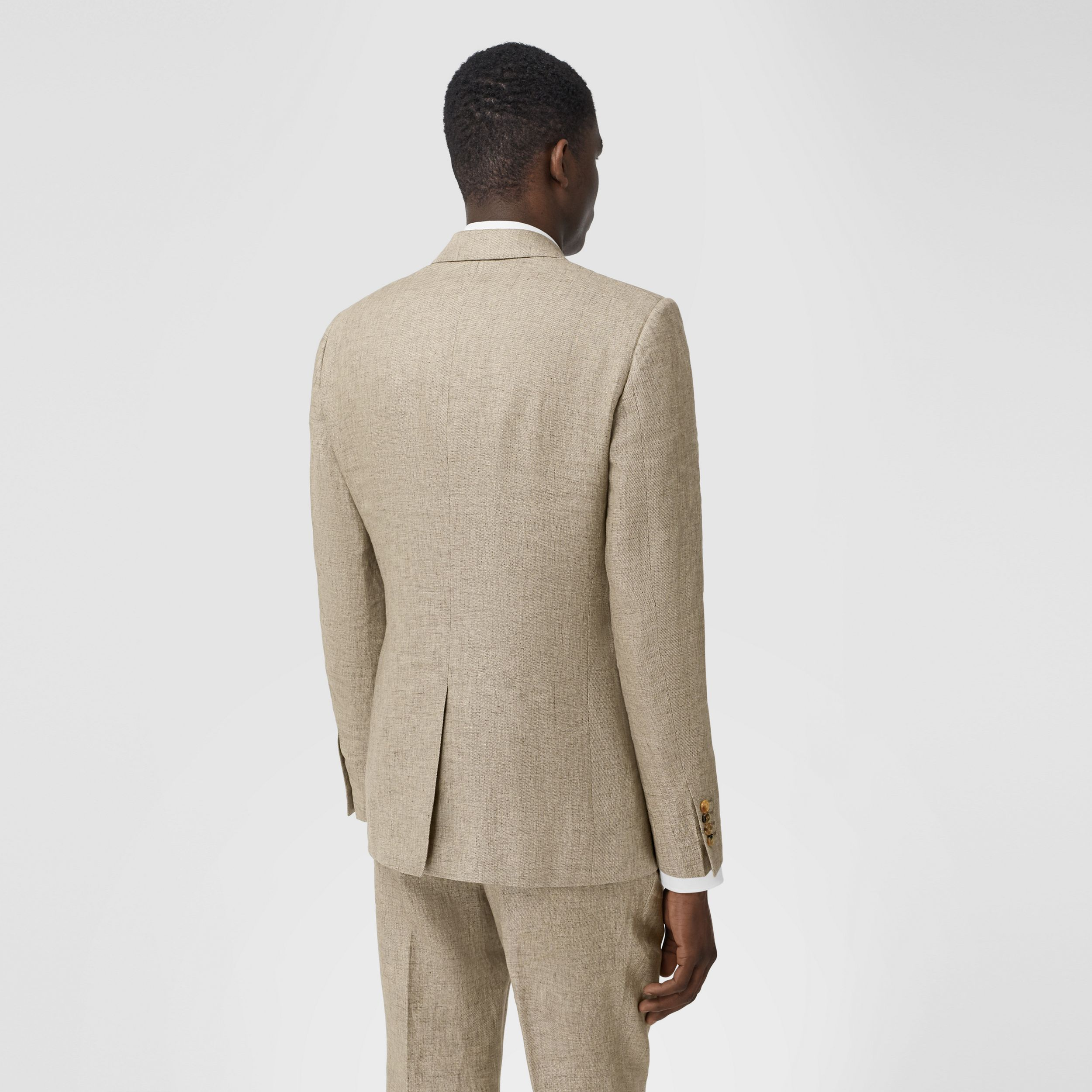 Classic Fit Linen Tailored Jacket in Cedar Brown Melange - Men | Burberry Singapore - 3
