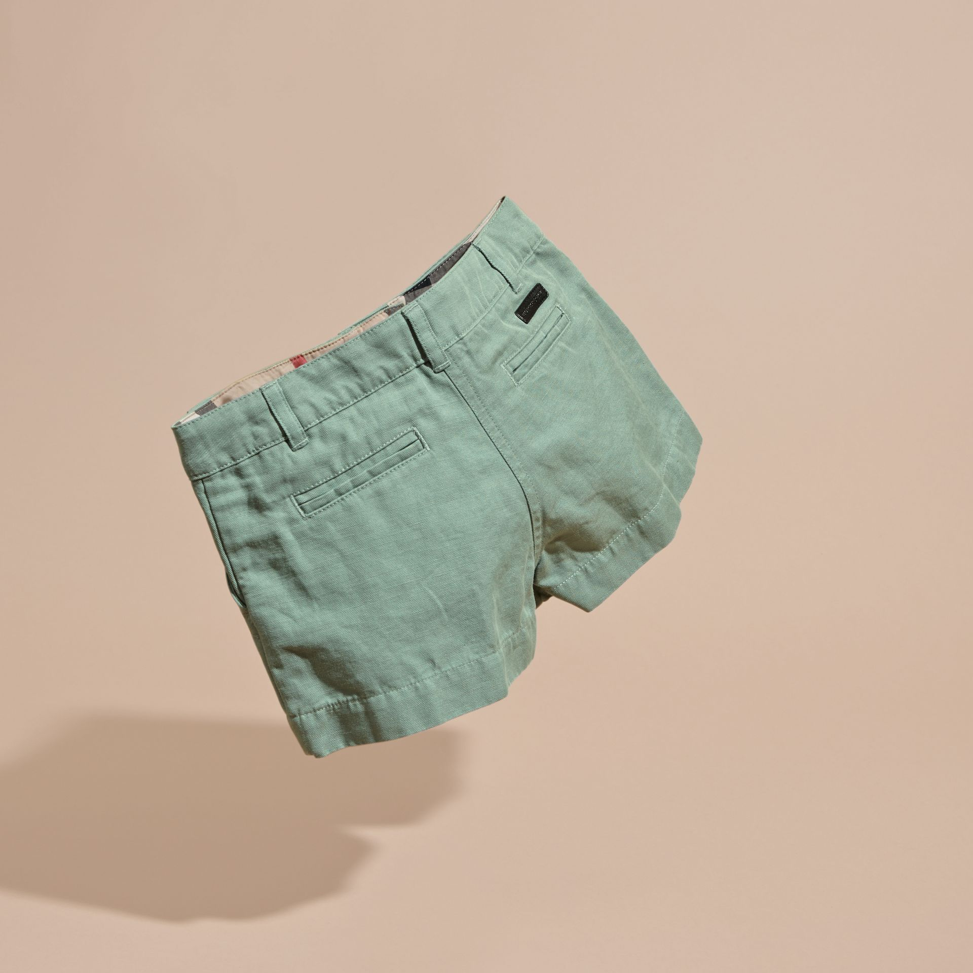 Pale eucalyptus Button Detail Cotton Linen Shorts - gallery image 4