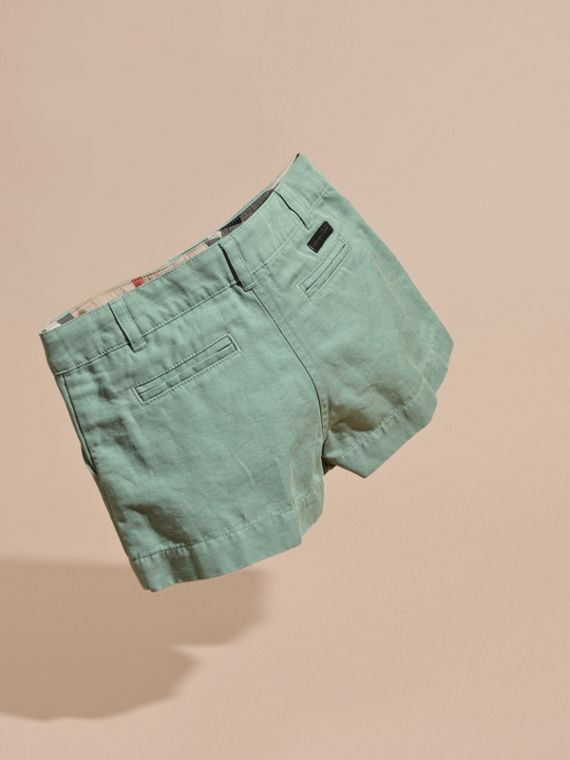 Pale eucalyptus Button Detail Cotton Linen Shorts - cell image 3