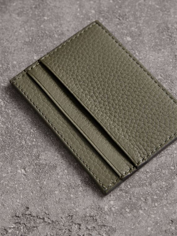 Textured Leather Card Case in Slate Green - Men | Burberry Canada - cell image 2