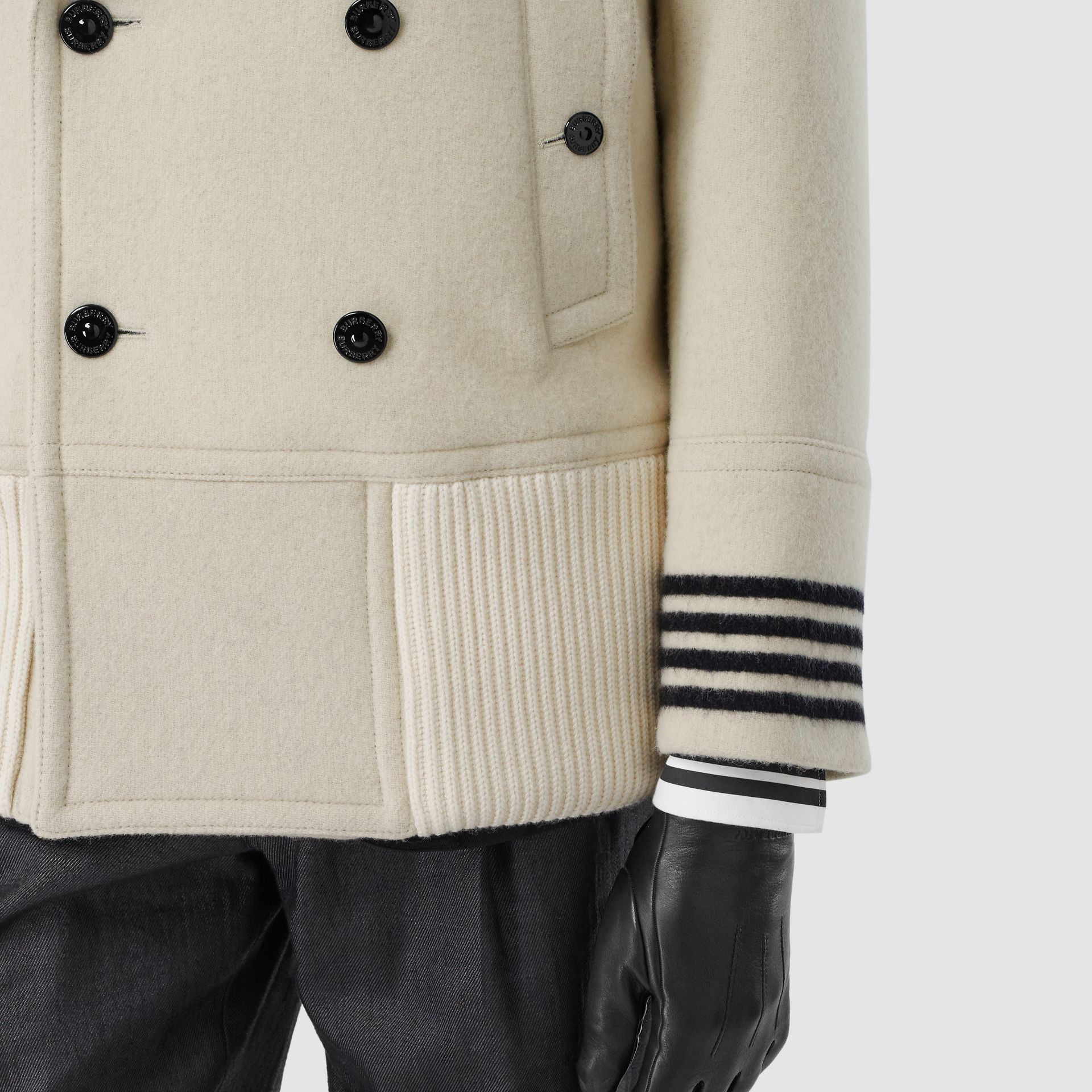 Striped Cuff Wool Pea Coat in White - Men | Burberry - gallery image 4