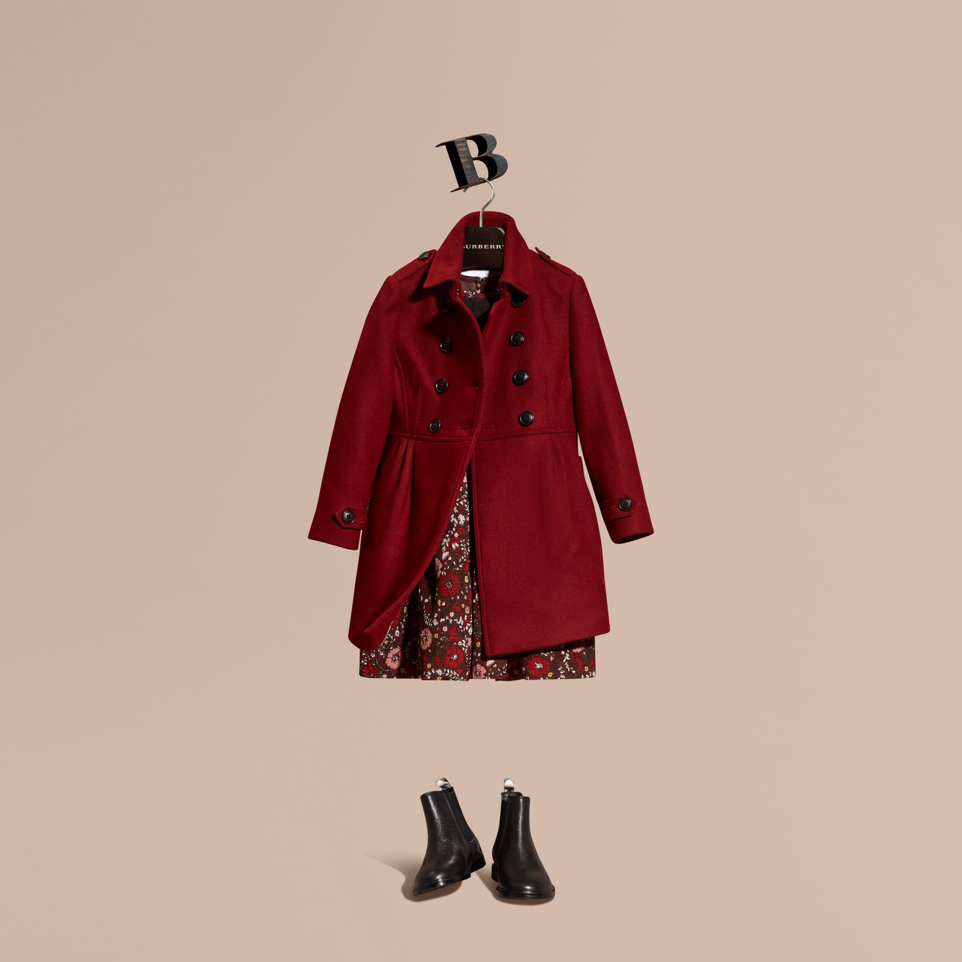 Deep claret Tailored Wool Cashmere Blend Coat Deep Claret - gallery image 1