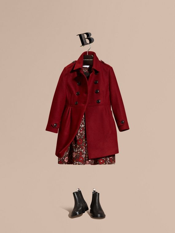 Tailored Wool Cashmere Blend Coat Deep Claret