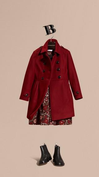 Manteau militaire en laine et cachemire mélangés