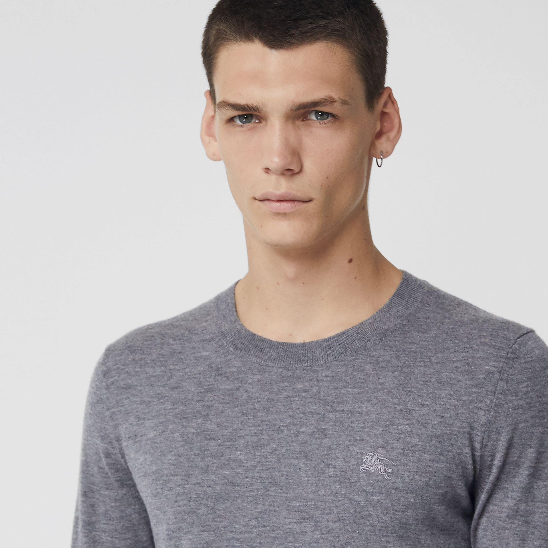 Crew Neck Cashmere Sweater in Pale Grey Melange - Men | Burberry Canada - gallery image 1