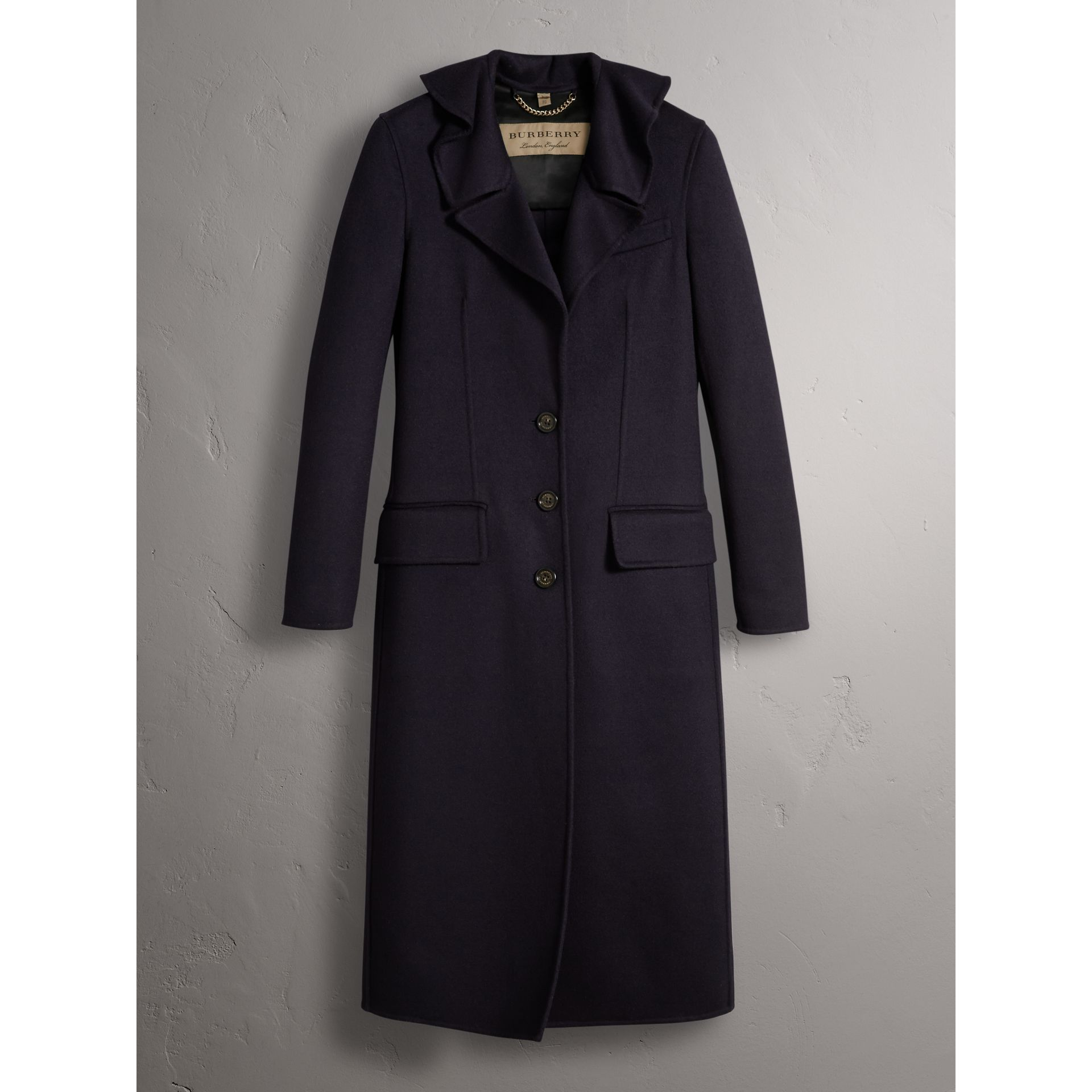 Ruffled Collar Wool Cashmere Coat in Navy - Women | Burberry Canada - gallery image 4