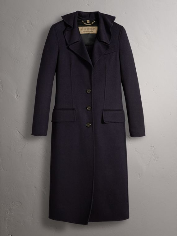 Ruffled Collar Wool Cashmere Coat in Navy - Women | Burberry Canada - cell image 3