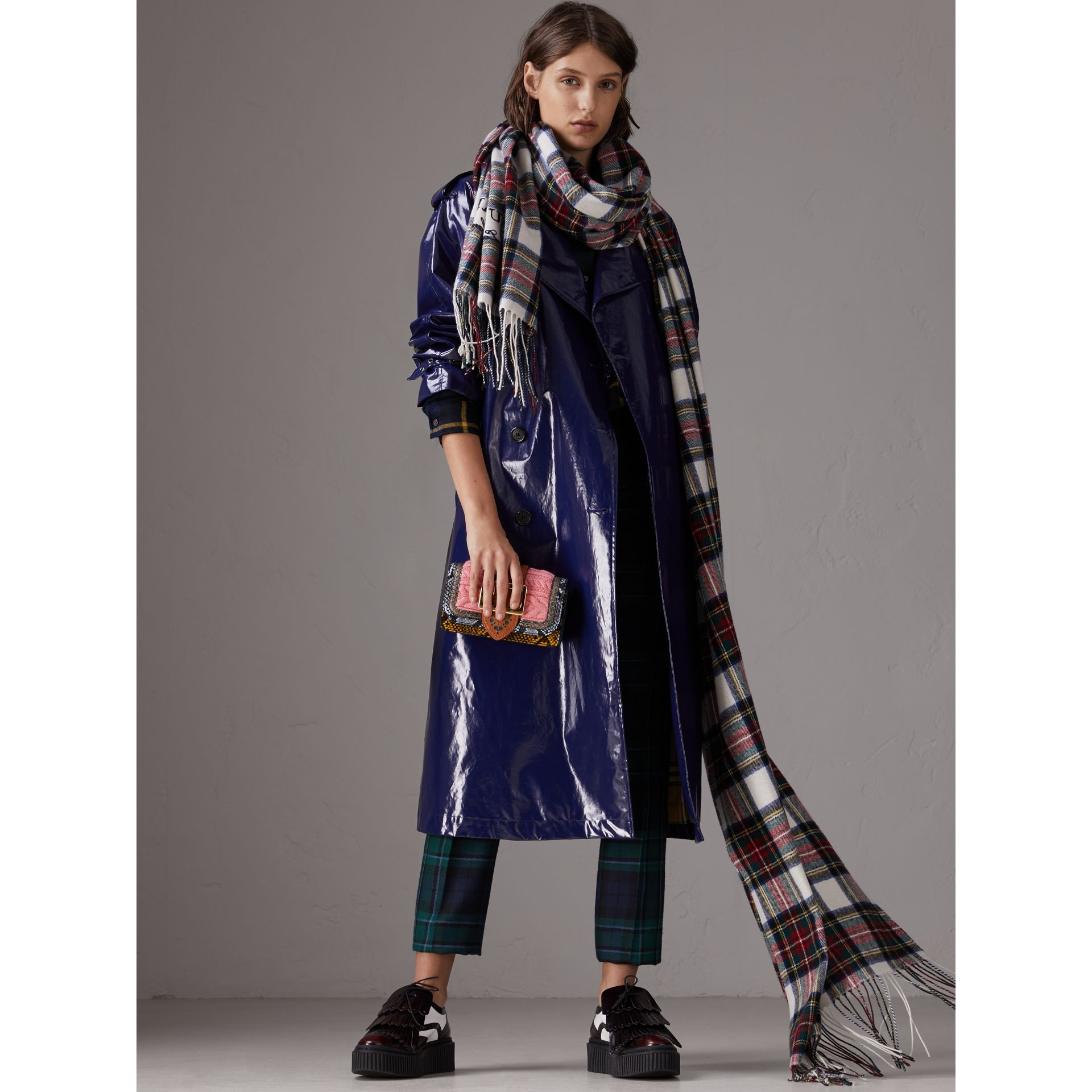 Laminated Cotton Trench Coat in Navy - Women | Burberry - gallery image 1