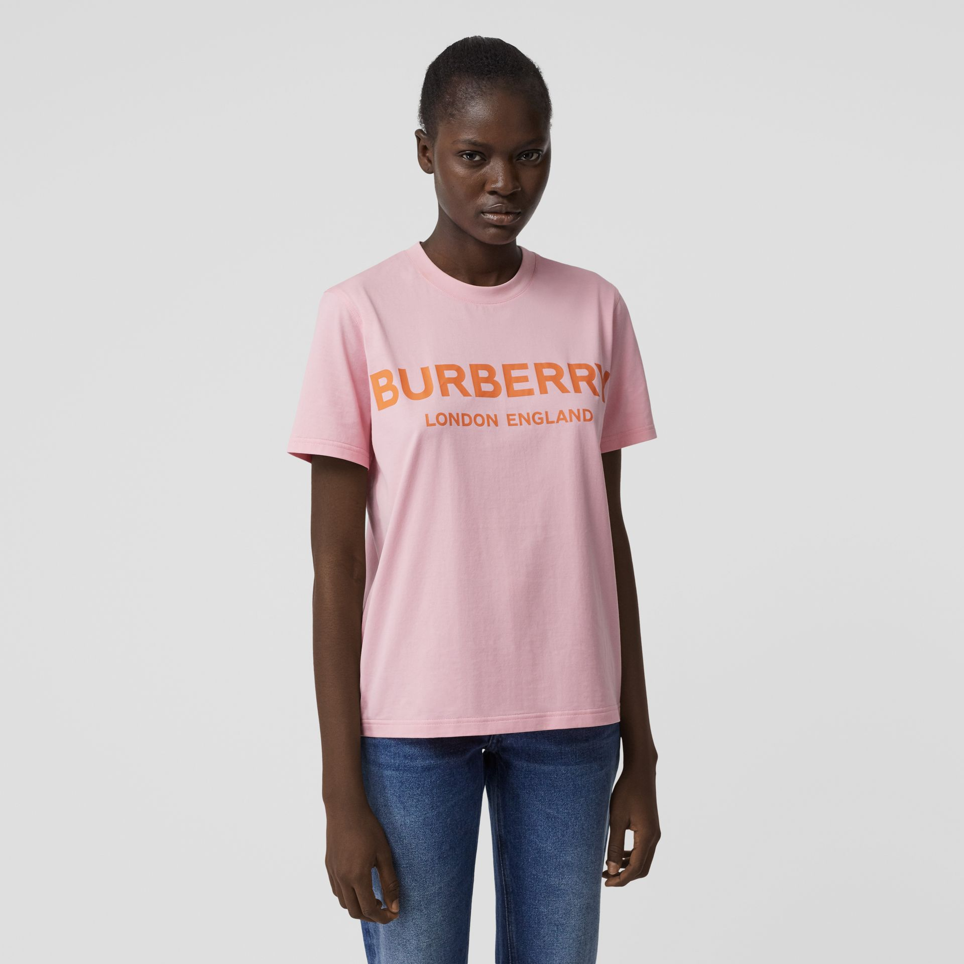 Logo Print Cotton T-shirt in Candy Pink - Women | Burberry - gallery image 4