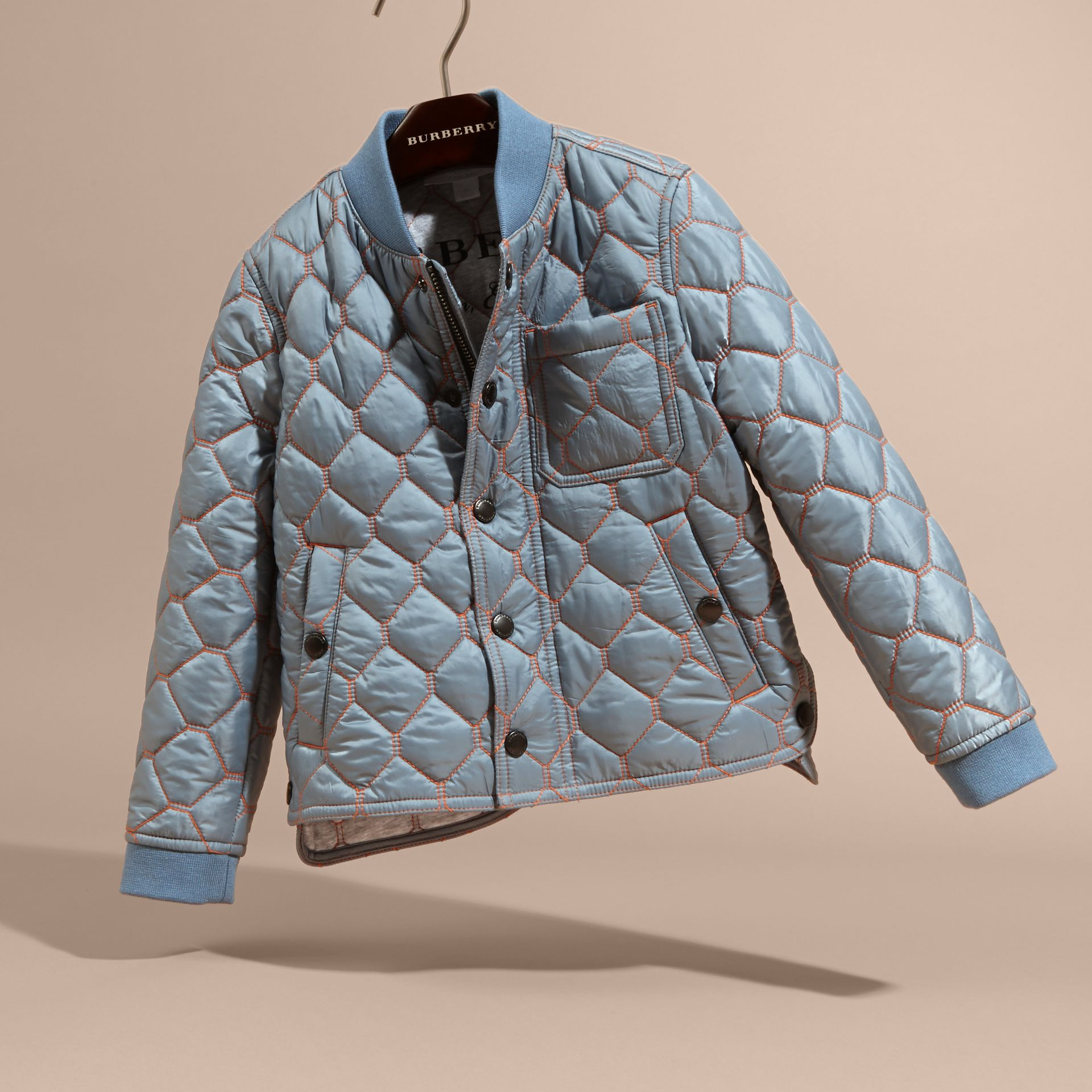 Contrast Topstitch Detail Quilted Jacket in Slate Blue | Burberry - gallery image 3