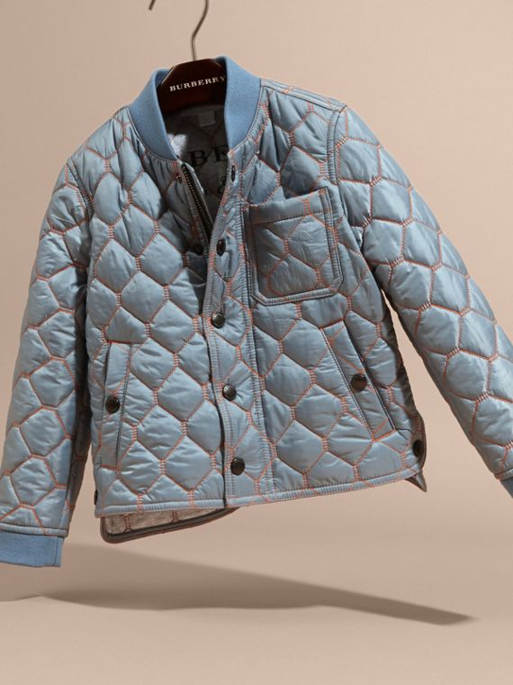 Contrast Topstitch Detail Quilted Jacket in Slate Blue | Burberry - cell image 2