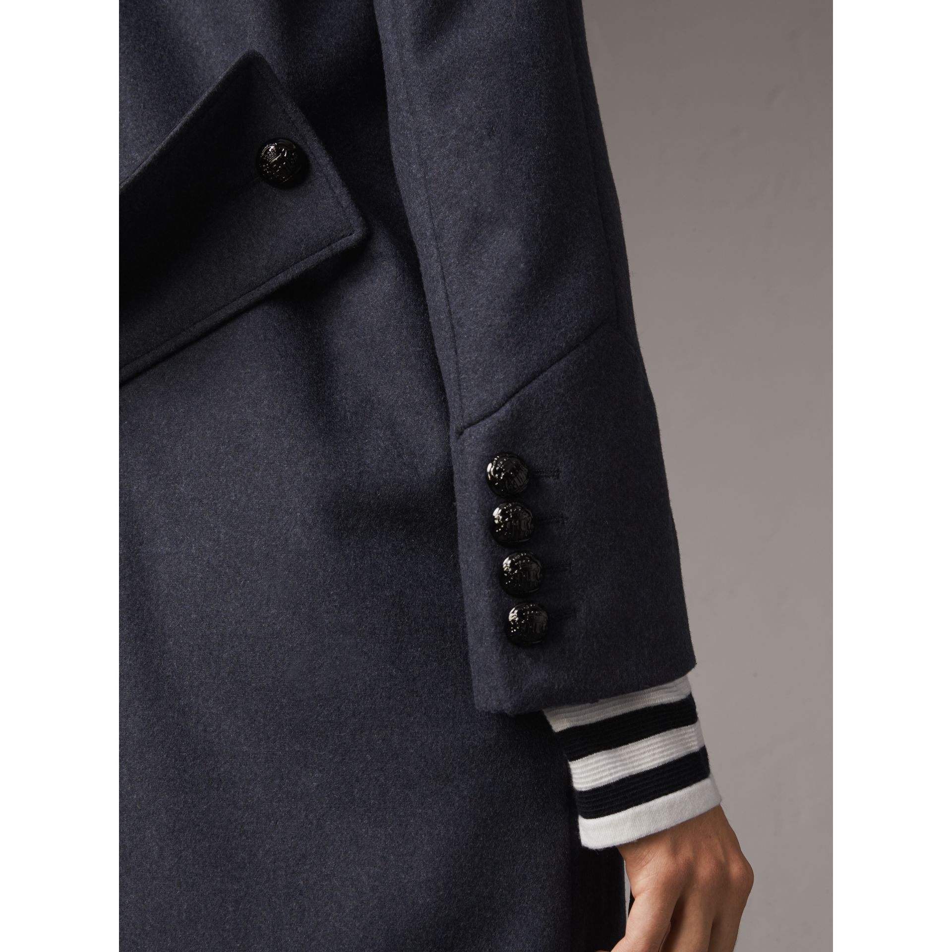 Collarless Wool Blend Coat in Storm Blue Melange - Women | Burberry Australia - gallery image 5