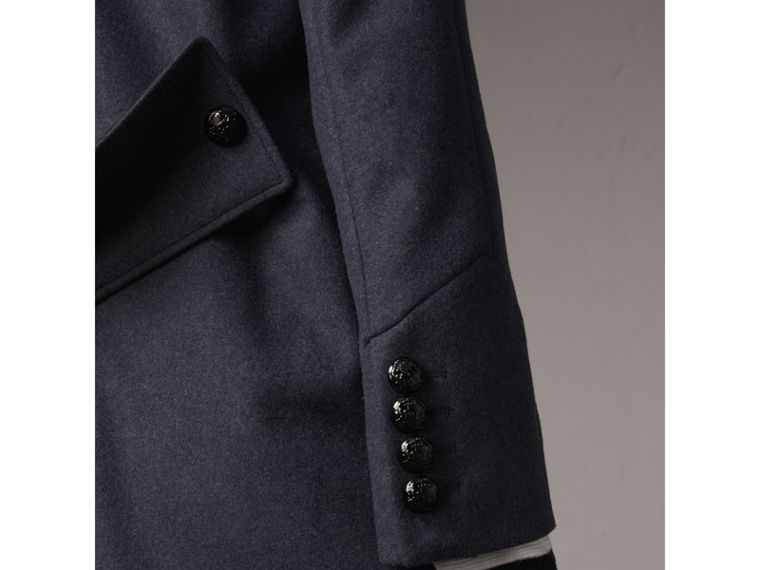 Collarless Wool Blend Coat in Storm Blue Melange - Women | Burberry - cell image 4