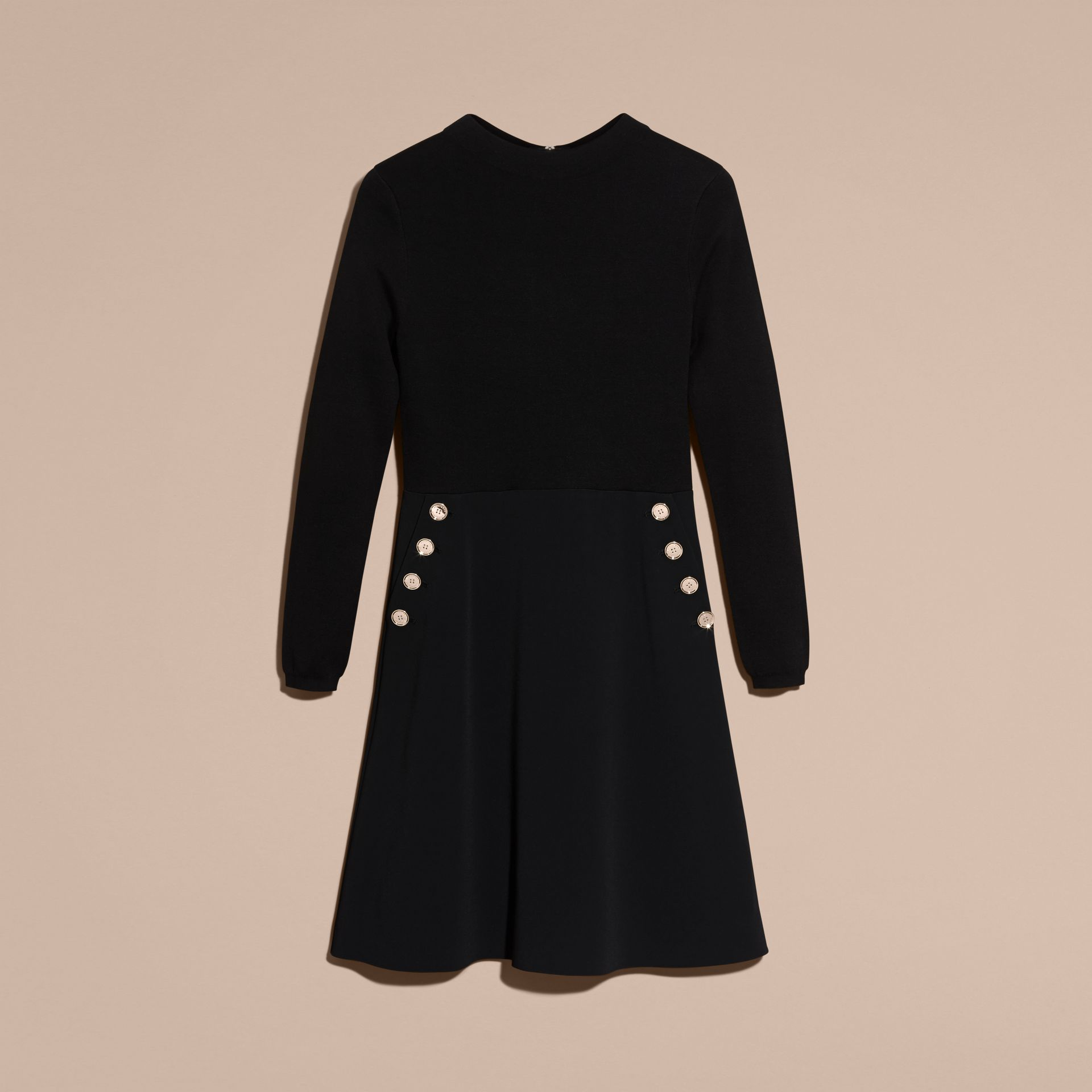 Black Long-sleeved Silk Wool Military Dress - gallery image 4