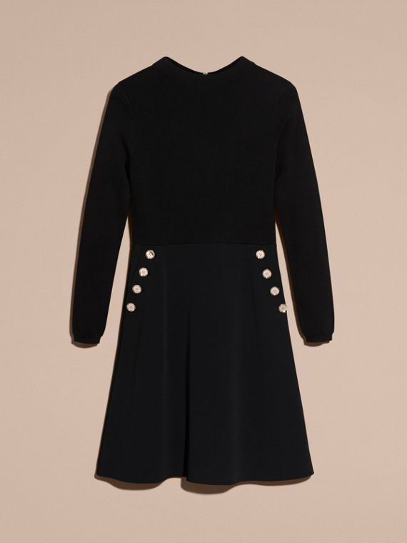 Black Long-sleeved Silk Wool Military Dress - cell image 3