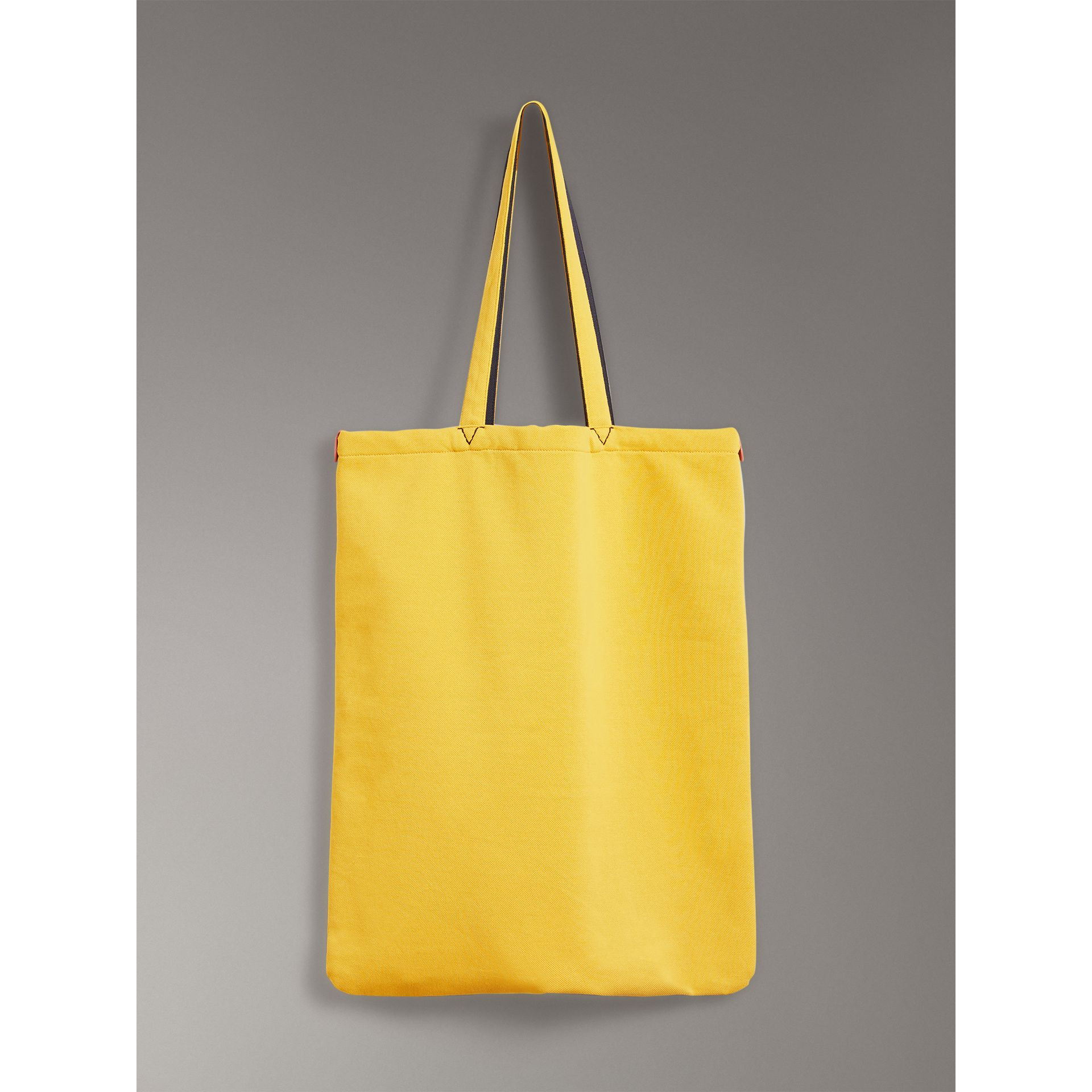 Large Archive Logo Jersey Shopper in Ochre Yellow | Burberry Australia - gallery image 6
