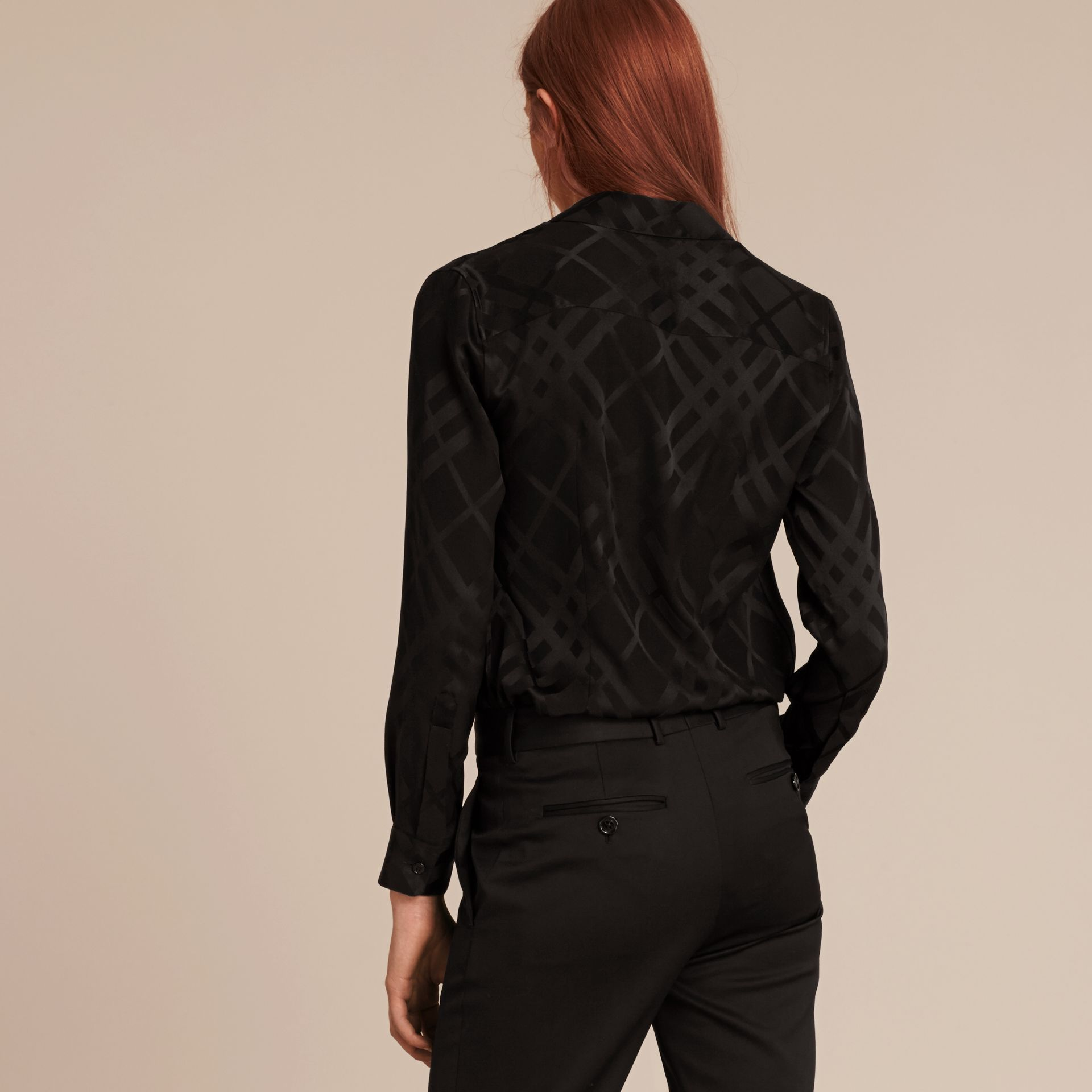 Tonal Check Silk Shirt Black - gallery image 3