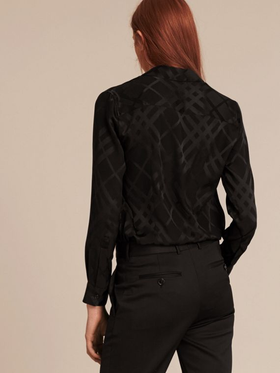 Black Tonal Check Silk Shirt Black - cell image 2