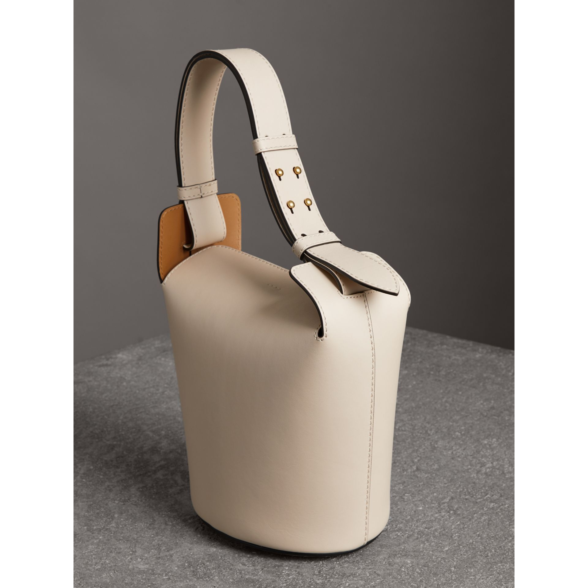 The Small Leather Bucket Bag in Limestone - Women | Burberry - gallery image 3