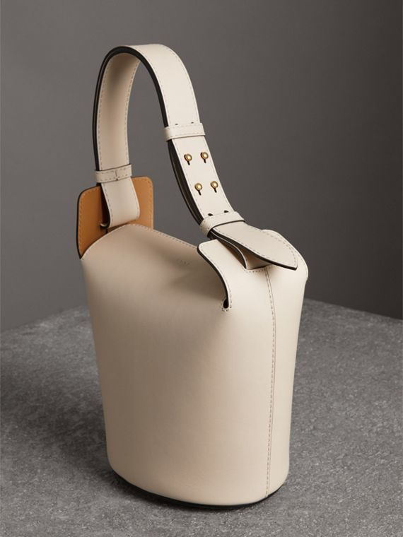 The Small Leather Bucket Bag in Limestone - Women | Burberry - cell image 3