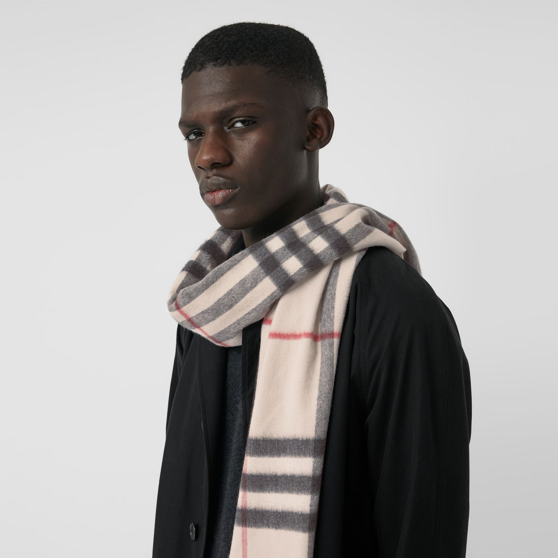The Classic Check Cashmere Scarf in Stone | Burberry United Kingdom - gallery image 6