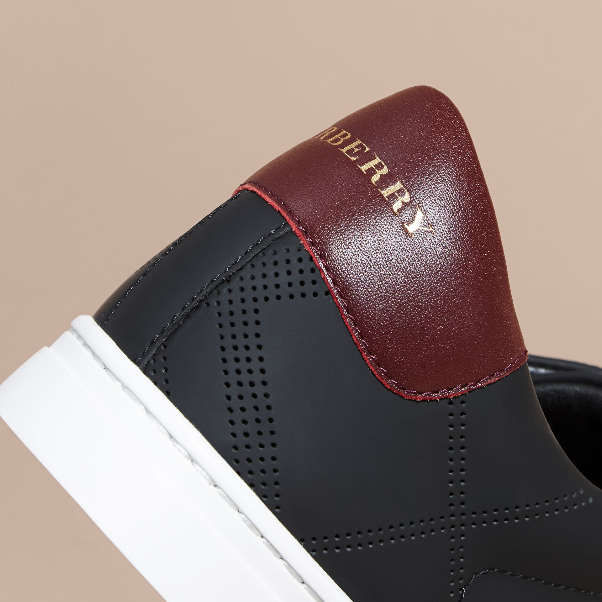 Perforated Check Leather Trainers Black/deep Claret Melange - gallery image 2