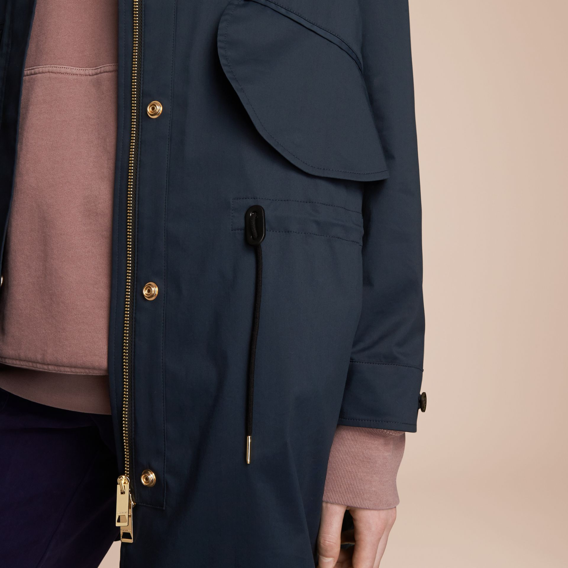 Hooded Water-resistant Parka in Navy - Women | Burberry - gallery image 4