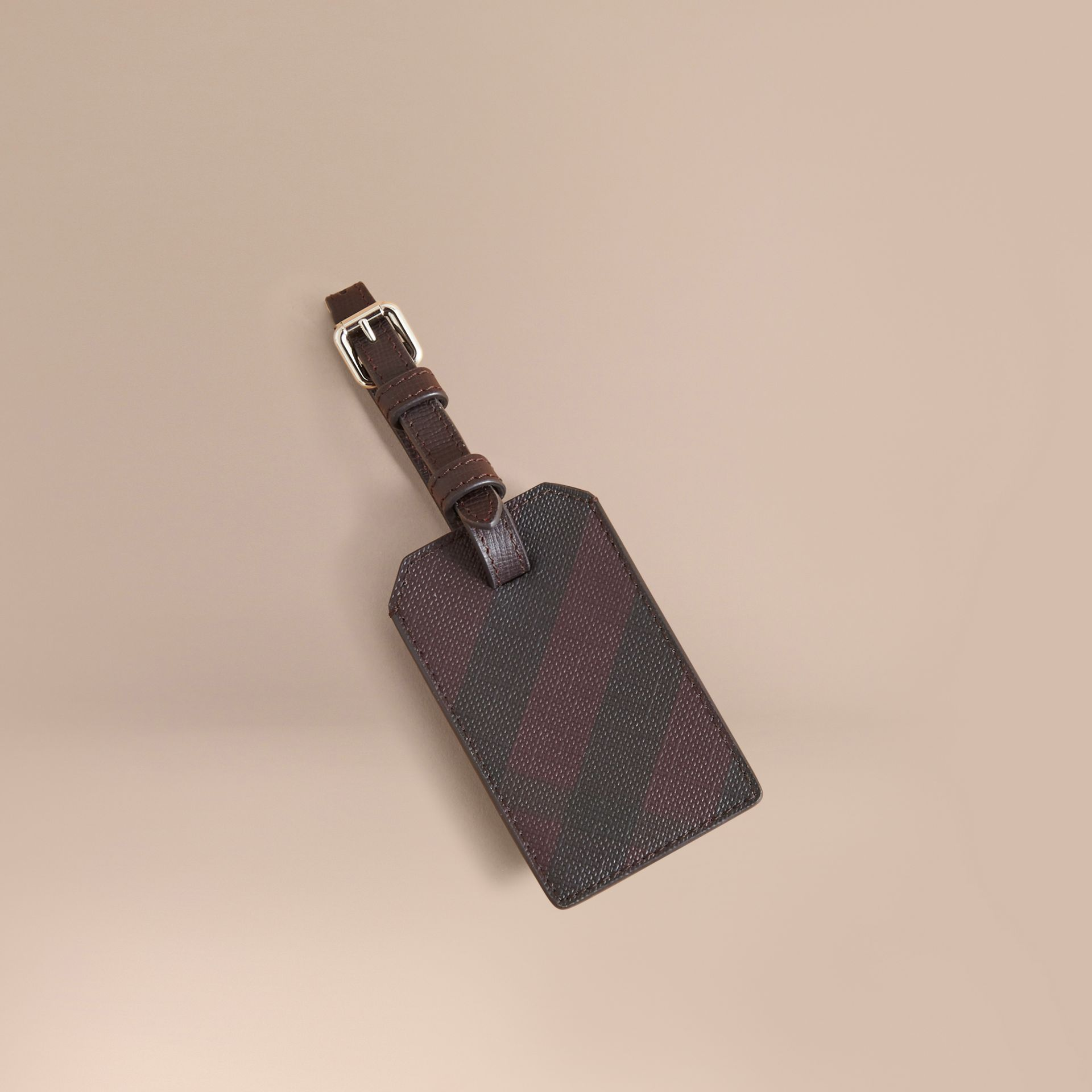 London Check Luggage Tag in Deep Claret - Men | Burberry - gallery image 0